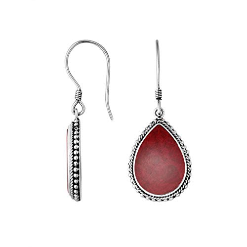 Sterling Silver Hand Crafted Pear Shape Earring with Coral AE-6251-CR