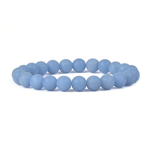 Justinstones Natural Matte Angelite Gemstone 8mm Round Beads Stretch Bracelet 7
