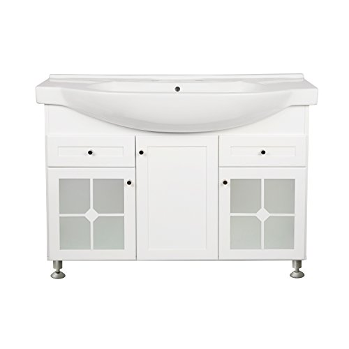 - RONBOW Adara 47 Inch Bathroom Vanity Set in White, Space Saver Cabinet with Two Frosted glass doors, One Wood Door and Two Drawers, Ceramic Sinktop with 8 Inch Widespread 053847-61-W01_kit_1