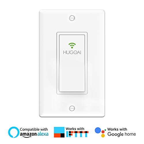 Smart Light Switch, HUGOAI In-wall Smart WiFi Light Switch Compatible with Amazon Alexa, Google Home & IFTTT, Control Your Fixtures from Anywhere, Timing Function, Overload Protection, No Hub required