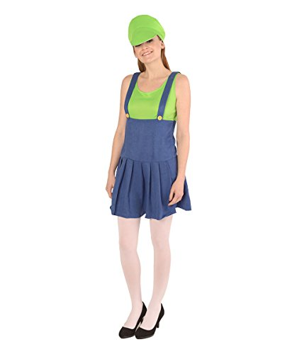 Halloween Party Online Women's Luigi's Plumber Costume, Green Large