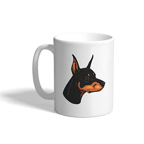 Custom Funny Coffee Mug Coffee Cup Doberman Pinscher Head White Ceramic Tea Cup 11 OZ Design Only ()