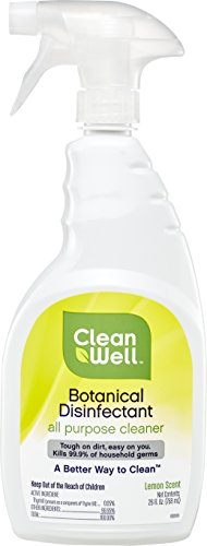 CleanWell Botanical Disinfectant All Purpose Cleaner - Lemon Scent, 26 FL Ounce (Lemon Disinfectant Scent)