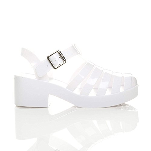 White Block Size Heel Sandals Mid Retro Jelly Women Ajvani 90s R8CqOO
