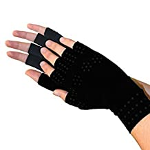 RemedyHealth 2 Pack Copper Comfort Glove with Magnetic Warming Effects, Gradual Compression, Hand and Wrist Support For Arthritis and Similar Hand Problems (Black)
