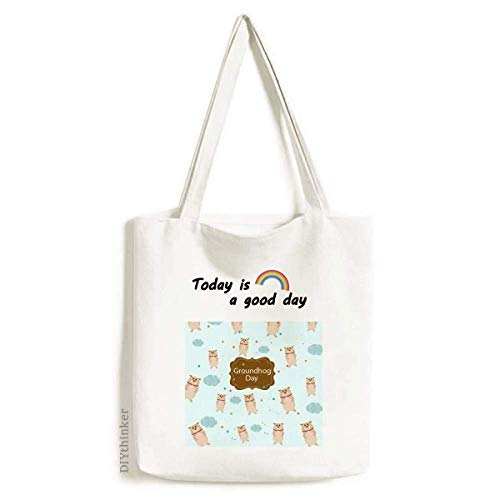 Canada and US Flavor Groundhog Day Tote Canvas Bag Craft Washable Fashion Shopping Handbag]()