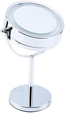 シェービング/メイクLEDライト拡大鏡メイクアップミラー6インチラウンド洗面化粧台化粧鏡