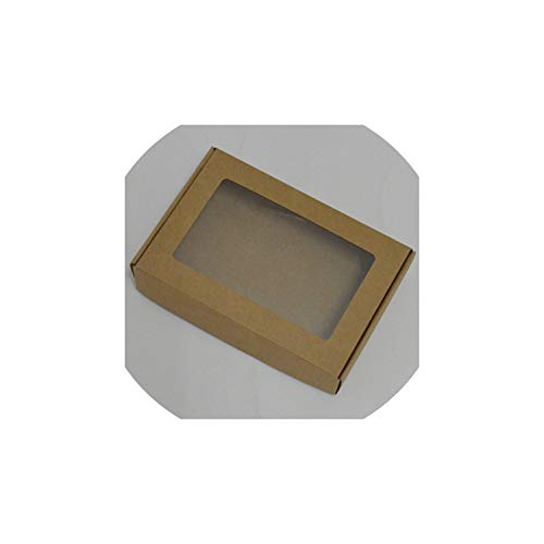 Decorative Boxes 10Pcs Black Kraft Large Gift Box Packaging White Craft Paper Box Party Wedding Cardboard Box,Craft Color,100X100X20Mm