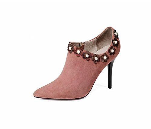 Taille en Talons LBDX Simples Cuir 39 Rose Pointu Mode l'europe Couleur Les et Hauts Unis véritable Rose Chaussures États 8Bf8aOwq