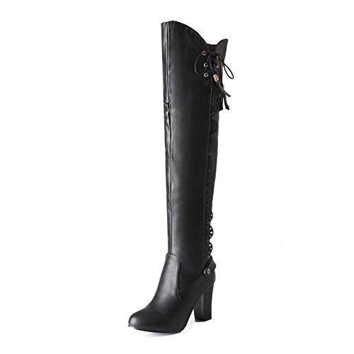 Allhqfashion Womens Zacht Materiaal Lace-up Ronde Gesloten Neus Hoge Hakken Hoge Laarzen Zwart