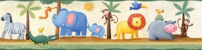 Peel & Stick JUNGLE SAFARI ANIMALS WALLPAPER BORDER Baby Nursery Wall Décor:New by WW shop