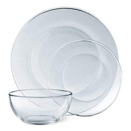 Mainstays 12-Piece Dinnerware Set, Clear -