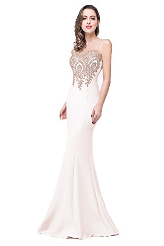 Ivory Prom Dresses Lace Appliques Women Formal Mermaid Evening Gowns, 12, Ivory