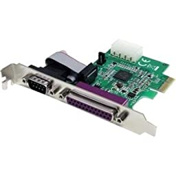 StarTech 1S1P Native PCI Express Parallel Serial Combo Card with 16950 UART. 1PORT NATIVE PCIE PARALLEL AND SERIAL 16950 COMBO CARD MP-SER. 1 x 25-pin DB-25 Female IEEE 1284 Parallel, 1 x 9-pin DB-9 Male RS-232 Serial PCI Express x1