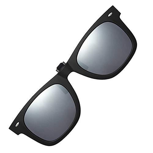 Polarized Clip-on Sunglasses Unisex Anti-Glare Driving Sunglasses With Flip Up for Prescription Glasses ()