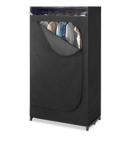 "Clothes Storage Wardrobe (Whitmor Portable Wardrobe Clothes Closet Storage Organizer with Hanging Rack - Black Color - No-tool Assembly - See Through Window - Washable Fabric Cover - Extra Strong & Durable - 19.75 x 36 x 64"")"