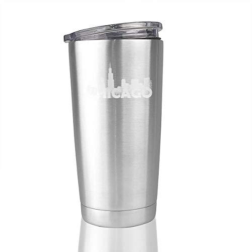 Chicago Skyline 20 Oz Stainless Steel Tumbler Vacuum Insulated Travel Mug Simple Modern]()