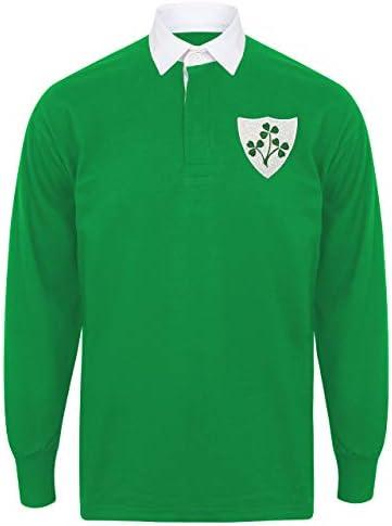 Camiseta de rugby para hombre, diseño retro del escudo irlandés, Hombre, Verde brillante y blanco., X-Large - 44/46 inch: Amazon.es: Ropa y accesorios