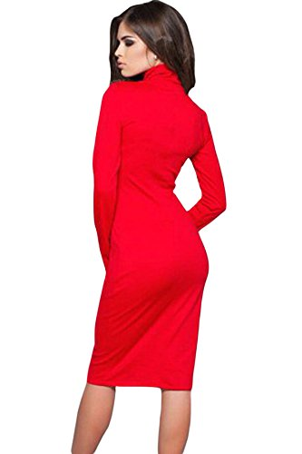 NEW Ladie de fente avec fermeture éclair Rouge Rouleau cou robe Midi Club Wear Taille M UK 10–12–EU 38–40