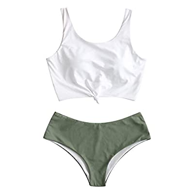 ZAFUL Women's Scoop Neck Tropical Leaf Knotted Two Pieces Tankini Set Swimsuit