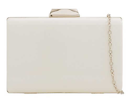 Handbag Clutch Patent Evening White KD2226 Hard Compact Women's Bag Metallic Box Ladies wUzqRw