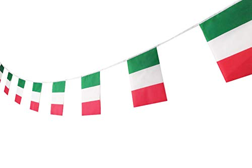 PortableFun 100 Feet 90 Pcs Italy Banners Flags,Italian Flag Banner String,Party Decorations for Grand Opening,Sports Events,Intarnational Festival,Olympics,Bar,Birthday,Carnival,Restaurants -