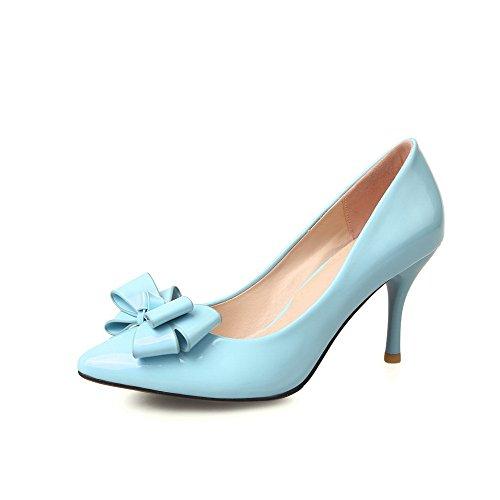 Odomolor Damen Ziehen auf Stiletto Lackleder Spitz Zehe Pumps Schuhe Himmelblau