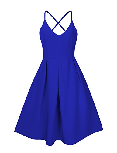 GlorySunshine Women's Deep V Neck Adjustable Spaghetti Straps Dress Sleeveless Sexy Backless Cocktail Party Dresses (S, Blue)