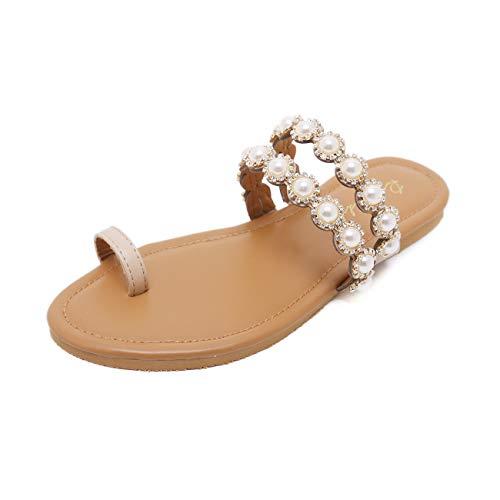 - Stupmary Women Flat Sandals Thong Toe Strap Crystal Sandalias Pearl Flip Flops Beach Slippers Beige