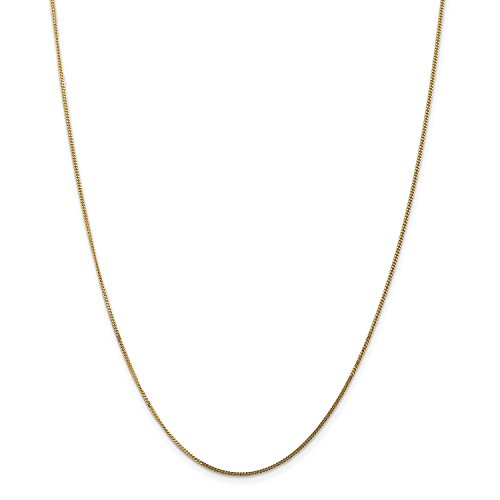 Pendant 18' Curb Chain (Roy Rose Jewelry 14K Yellow Gold 1.3mm Curb Pendant Chain Necklace ~ Length 18'' inches)