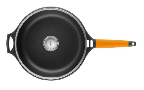 Fundix by Castey Nonstick Cast Aluminium Induction Sauté Pan with Tempered Glass Lid and Removable Orange Handle, 12-Inch/4-3/4-Quart by Castey (Image #6)