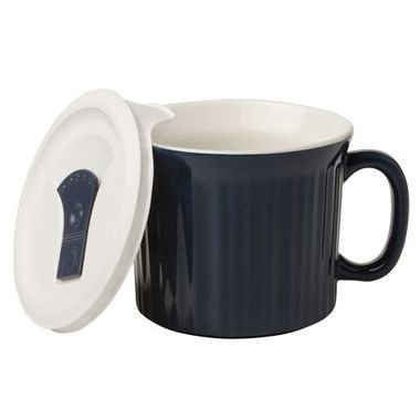 CorningWare French White 20oz Mug with Vented Plastic Cover Midnight
