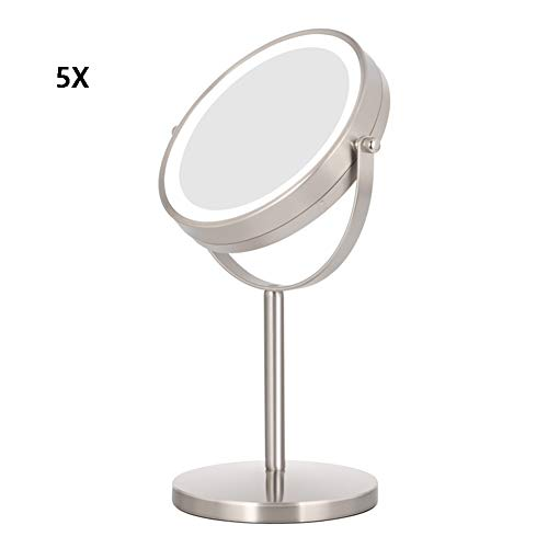 Shaving Mirrors Lighted Makeup Mirror, Vanity Mirror With Adjustable Natural Soft Light, 7.5 Inch, Double-Sides Mirror 1x/5x Magnifying Mirror With Stand, Black Makeup Mirror, AC Adapter or Battery Op