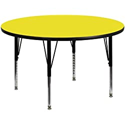 Flash Furniture 48'' Round Yellow HP Laminate Activity Table - Height Adjustable Short Legs