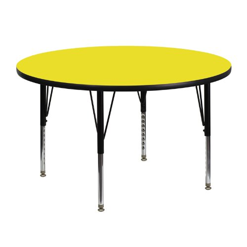 Flash Furniture 48'' Round Yellow HP Laminate Activity Table - Height Adjustable Short Legs (Table Round Short)