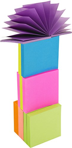 4A Sticky Pop-up Notes,3 x 3 Inches,Neon Assorted,Self-Stick Notes,100 Sheets/Pad,12 Pads/Pack,4A 303x12-N-Z