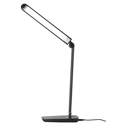 Dimmable LED Desk Lamp with USB Charging Port, Lichamp Touch Control Foldable Gooseneck Free Rotation Adjustable Eye Care Table Lamp, Bedside Reading Light with UL AC Adapter(Black) by Lichamp