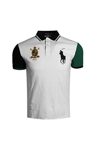 (Polo Ralph Lauren Mens Custom Slim Fit Big Pony Crest Polo Shirt (X-Large, White MU))