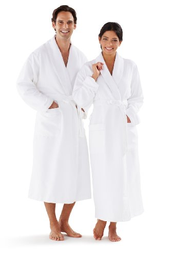 (Boca Terry Women's and Men's Robe, Luxury Microfiber White Bathrobe, XXXXL (4XL))