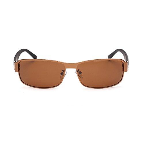 de Los Brown para del Sol Que De Sol LBY Espejo Gafas Hombres Polarizadas Brass El Marco Revestidas De Gafas De Hombre Sol Gafas Conducen Metálico Color wx7xqH1