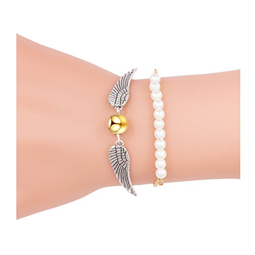 [Sundear 2Pcs Golden Bead Angel Wings Dove Peace Bracelet for Women] (Golden Wings For Women)