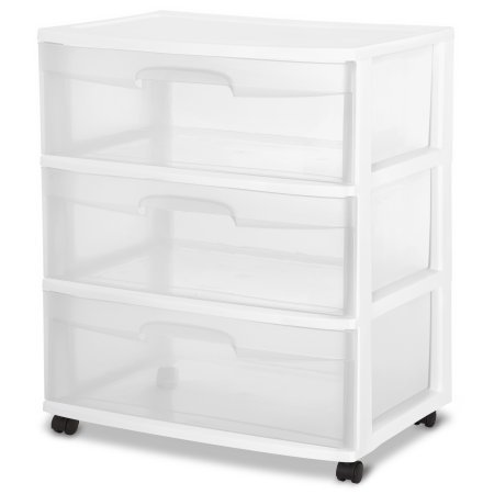 Sterilite 29308001 Wide 3 Drawer Cart, White Frame with Clear Drawers and Black Casters, 2-PACK by Sterilite