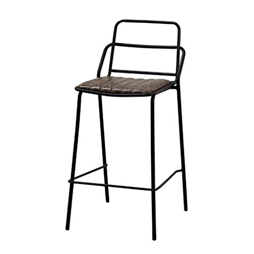 Dining Chair | Full Backed Black Metal Bar Stools, Durable PU Ergonomics Seat with Footrest & Back, Bar Pub Dining Room Kitchen Home 16''x16''x29'' Max. Load 440Lb