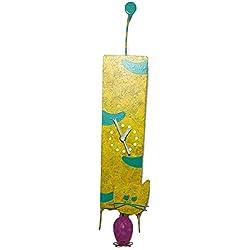 Oxidos Recycling Fair Trade Pendulum Wall Clock - Cat And Mouse (Yellow)