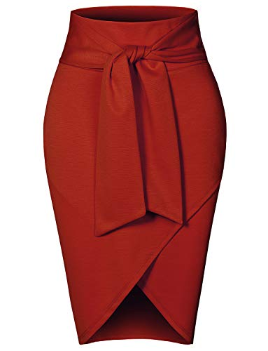 RK RUBY KARAT Womens Asymmetrical High Waisted Self Tie Casual Formal Pencil Midi Skirt, Rust, Large