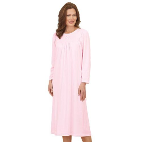 Calida Soft Cotton Long Sleeve Nightgown (33300) S/Light Blue (Gathered Nightgown)