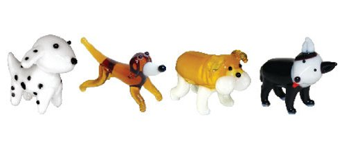 Dog Figurine Collectible (Looking Glass Miniature Collectible - Dalmatian/Dachshund/Bulldog/Pit Bull (4-Pack))