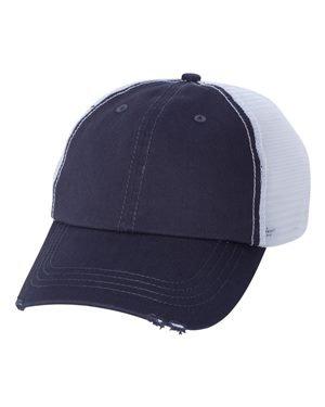 Mega Cap - Organic Cotton/Mesh Cap - 6887 - One Size - Navy/ White