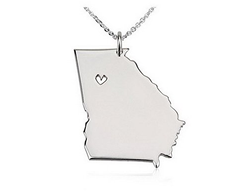 State Necklace Georgia State Charm Necklace Sterling Silver State Necklace with a Heart (18 Inches)