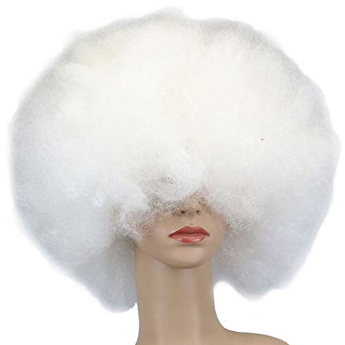 DUBKARTna Biggest Afro Ever Wig Halloween Costume Accessories, White,Black, One Size (White)]()